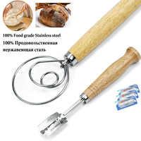 2 Pack 13.5 pouce acier inoxydable danois pâte fouet et pain Lame meilleur outil de notation de la pâte gâteau outils pour pain artisanal fait maison