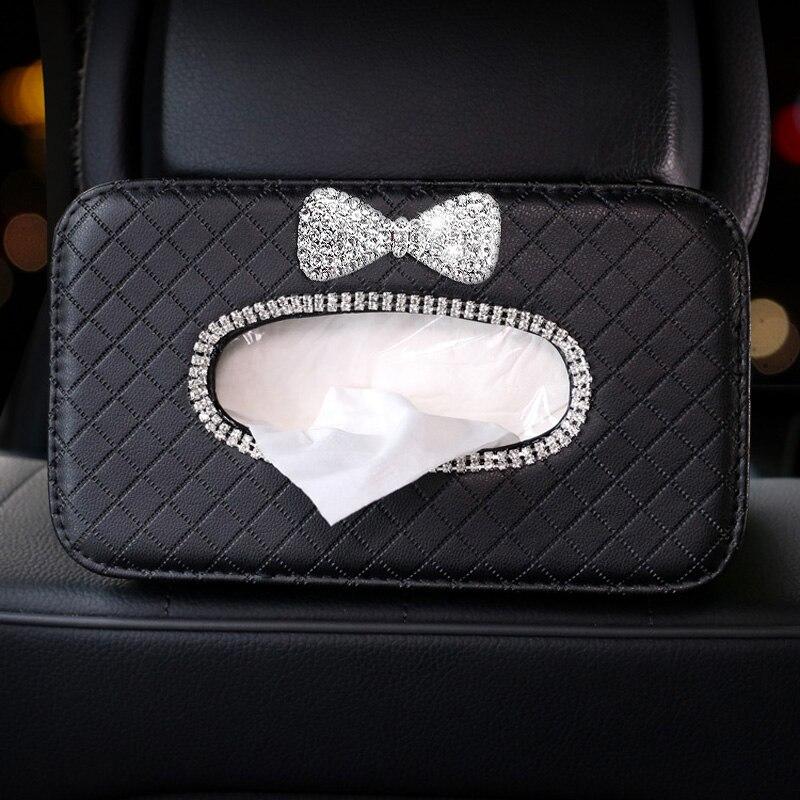 strass bowknot titular caixa de tecido do carro assento auto encosto cabeca pendurado tecido caso organizador