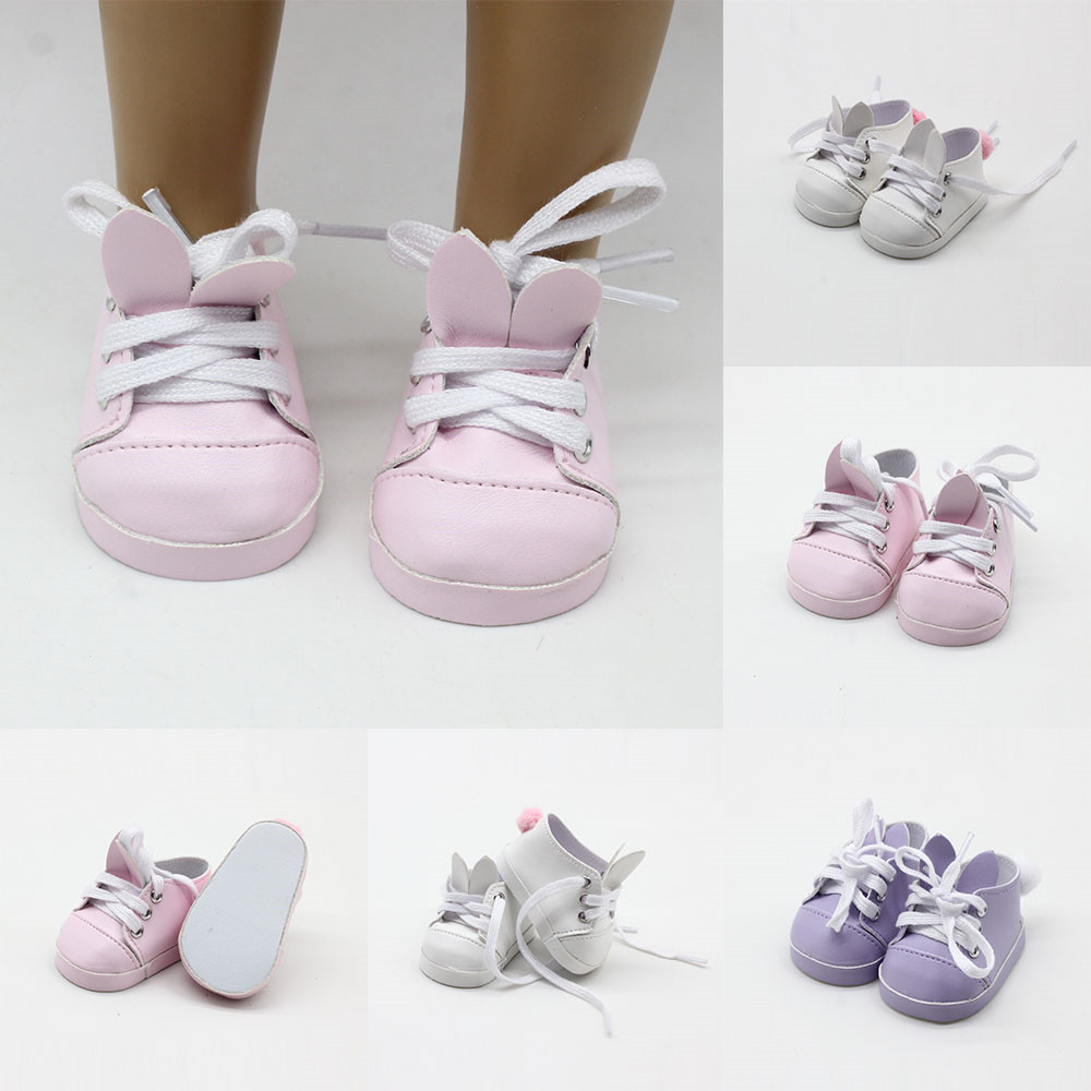 Pink White Purple Doll Shoes Fit For 18 Inch American Dolls 7cm Mini Doll Sneackers For 43CM Reborn New Baby Doll