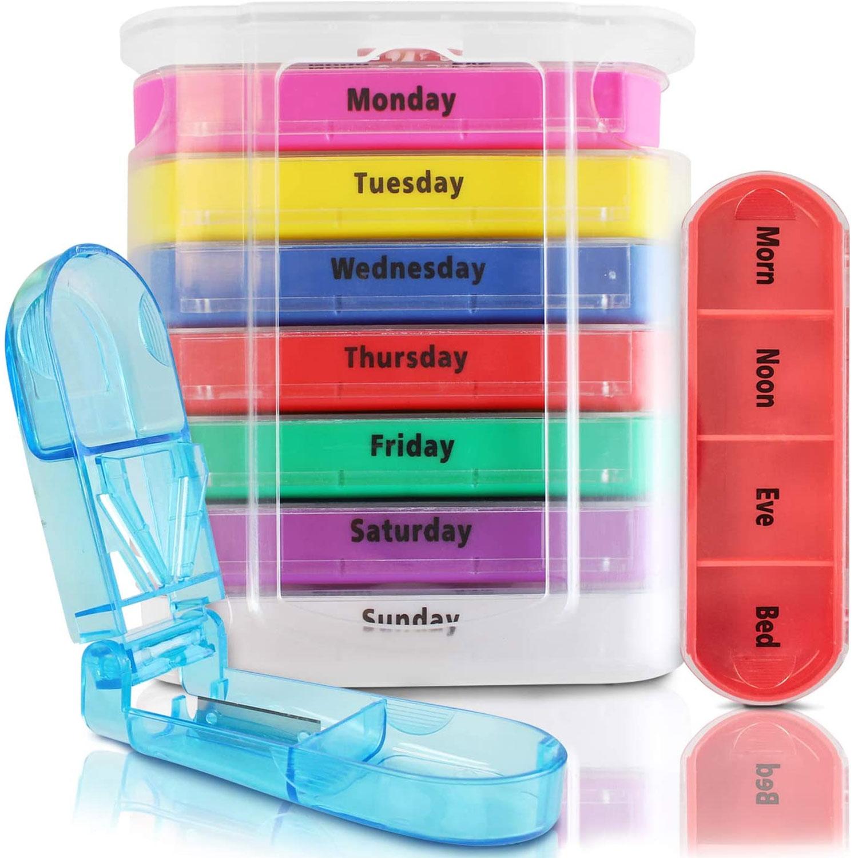 Еженедельные дот Органайзер AM PM таблетки чехол с таблетки Cutter, стекируемые 4 раза в день таблетки коробка, еженедельный медицинский таблетк...