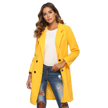 2019 New Winter Women Woollen Coat Plus Size Turn-Down Collar Casual Slim Wool Blends Jacket Coat Elegant Oversize Outwear 3xl cheap Long Button Pockets Wool Blends Solid Double Breasted REGULAR 181113095501 Full 257327 s m l xl xxl 3xl red blue yellow black gray