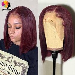 Remyblue бордовый перуанский парик Боб, парики из человеческих волос для женщин, красный 99J предварительно окрашенный прозрачный парик 13*1, пари...