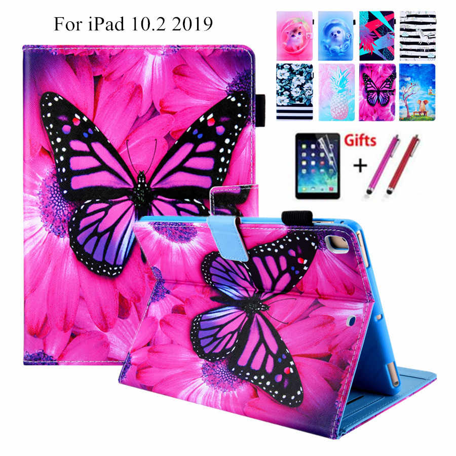 Para iPad 10,2 2019 Smart Case para Apple iPad 7 generación A2200 A2198 A2232 Funda piel, ranura para tarjetas soporte carcasa + película + lápiz óptico