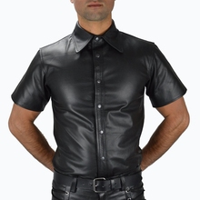 Men Wetlook Faux leather Shirts PU Leather T Sexy Fitness Tops Gay Latex T-shirt Tees stage Tee Party Clubwear