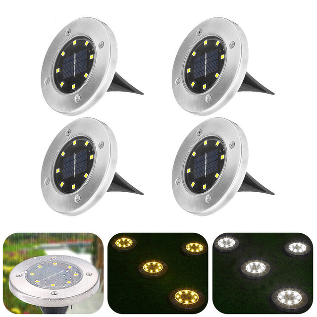 Solar Powered Disk Lights 8/12 LED Solar Pathway Lights Outdoor Waterproof Garden Landscape Lighting for Yard Deck Lawn Patio