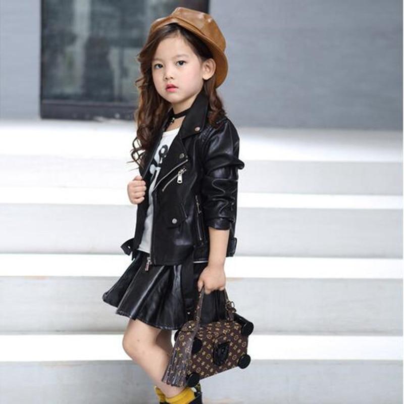 Baby Girls Boy Overwear 2021 Spring Autumn Winter PU Coat Jacket Kids Fashion Leather Jackets Children Coats Overwear Clothes 1