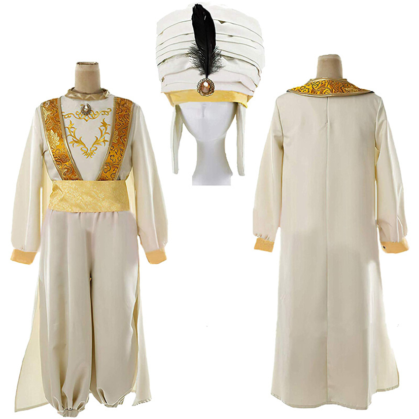 2020 Prince Aladdin Cosplay Magic Lamp Halloween Carnival Adult Costumes Anime Party Stage Performance Adam Dress Clothing