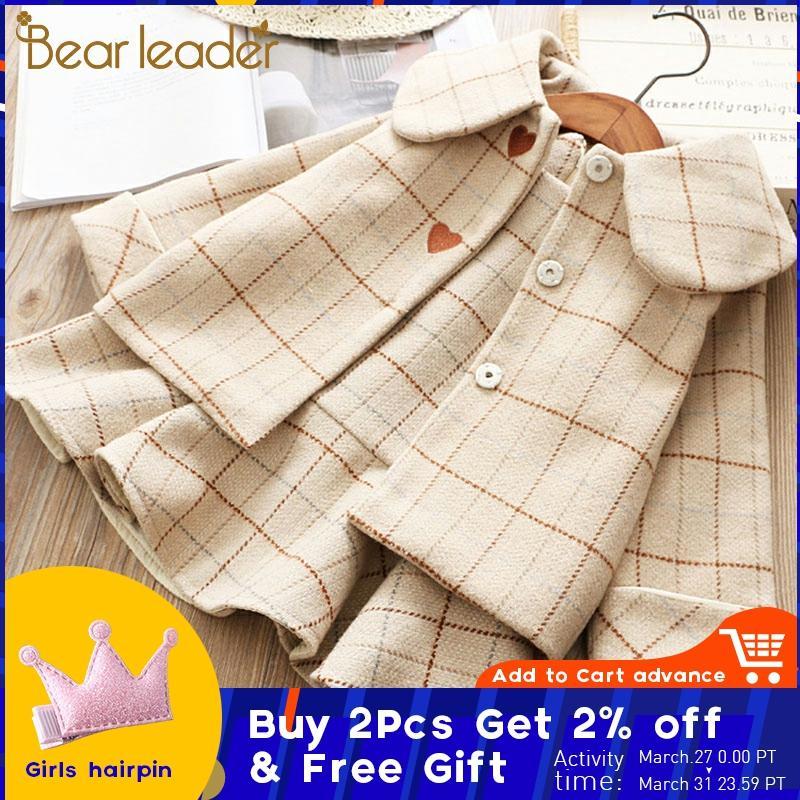 Bear Leader/Детское платье для девочек новые зимние платья в клетку для девочек одежда с длинными рукавами для девочек пальто и платье на бретеля...