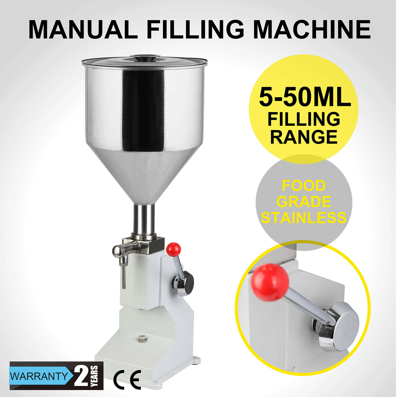 5~50ml Pneumatic Manual Operation Filling Machine Adopts Piston Structure 10kg Liquid Filler Sanitary Stainless Steel