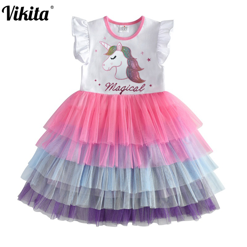 Kids Sleeveless Lace Drsses for Girls Party Dress Unicorn Embroidery Birthday Tutu Dresses Children Casual Wear Summer Vestidos 1