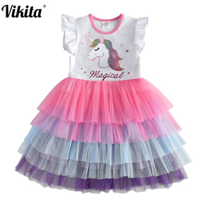 Kids Sleeveless Lace Drsses for Girls Party Dress Unicorn Embroidery Birthday Tutu Dresses Children Casual Wear Summer Vestidos(China)