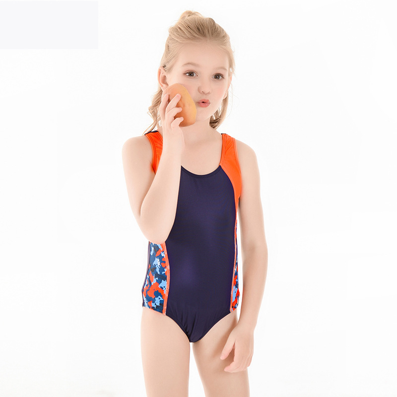 2019 New Style Hot Sales Europe And America KID'S Swimwear Contrast Color Floral-Print Backless One-piece Swimming Suit GIRL'S S