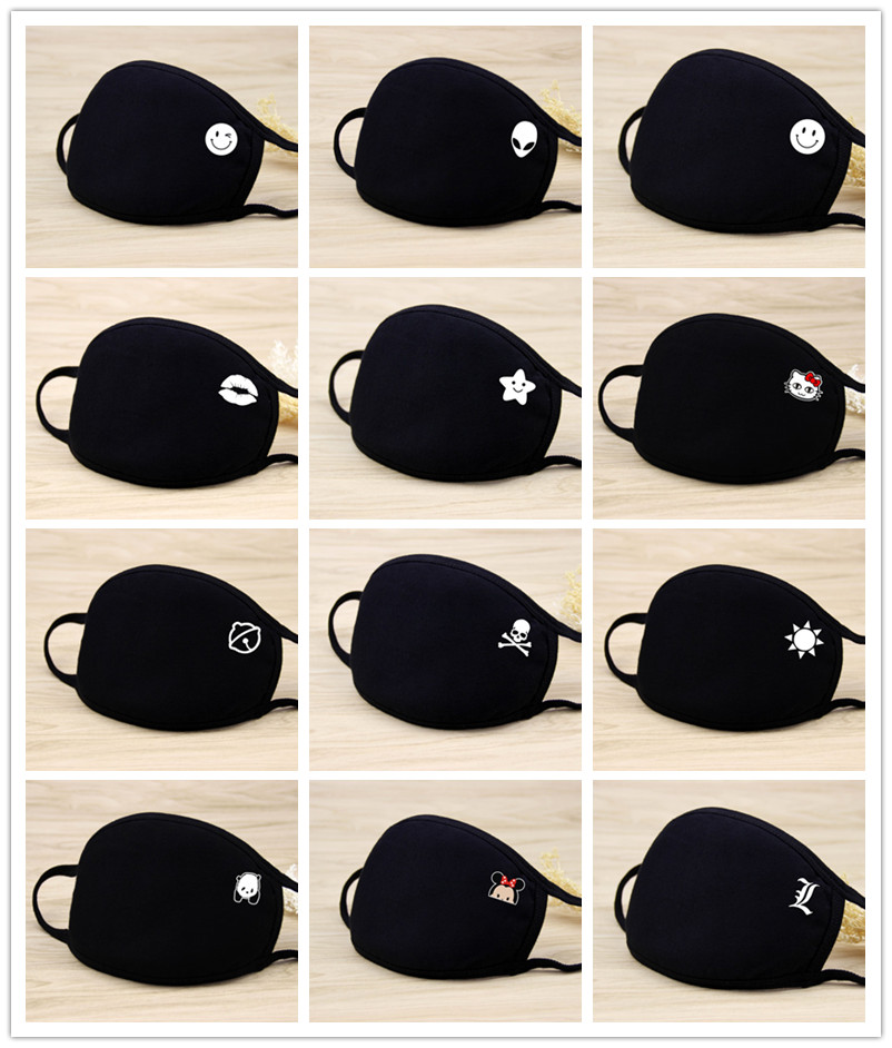 21 Styles Quality Black Cotton Mouth Mask Unisex Teens Anti-Dust Mask Anime Mask Fashion Health Face Mouth Mask Unisex