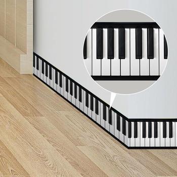 Etiquetas adhesivas 3D de 200cm para la cintura, para llaves, Piano, blanco y negro, para el pasillo, dormitorio y sala de estar