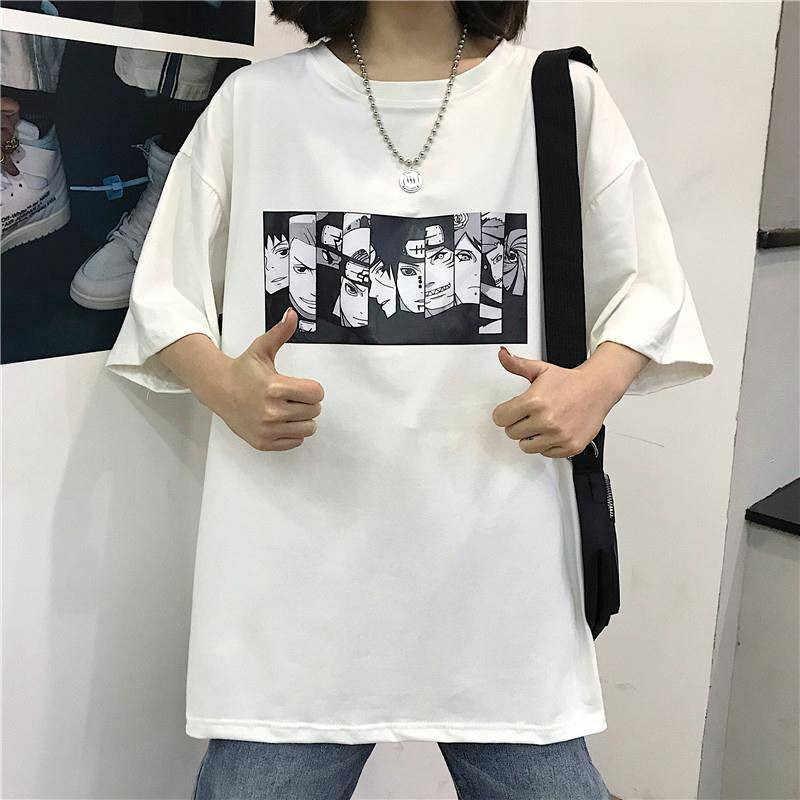 男性の tシャツナルト夏原宿クールユニセックス半袖 tシャツ日本アニメおかしい印刷ストリートプラスサイズ tシャツ