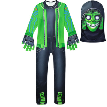Boys Carnival MEZMER / Raptor Costumes Jumpsuits Kids Clown Cosplay Clothes Halloween Costumes Raven Party Game Cosplay Costumes 2