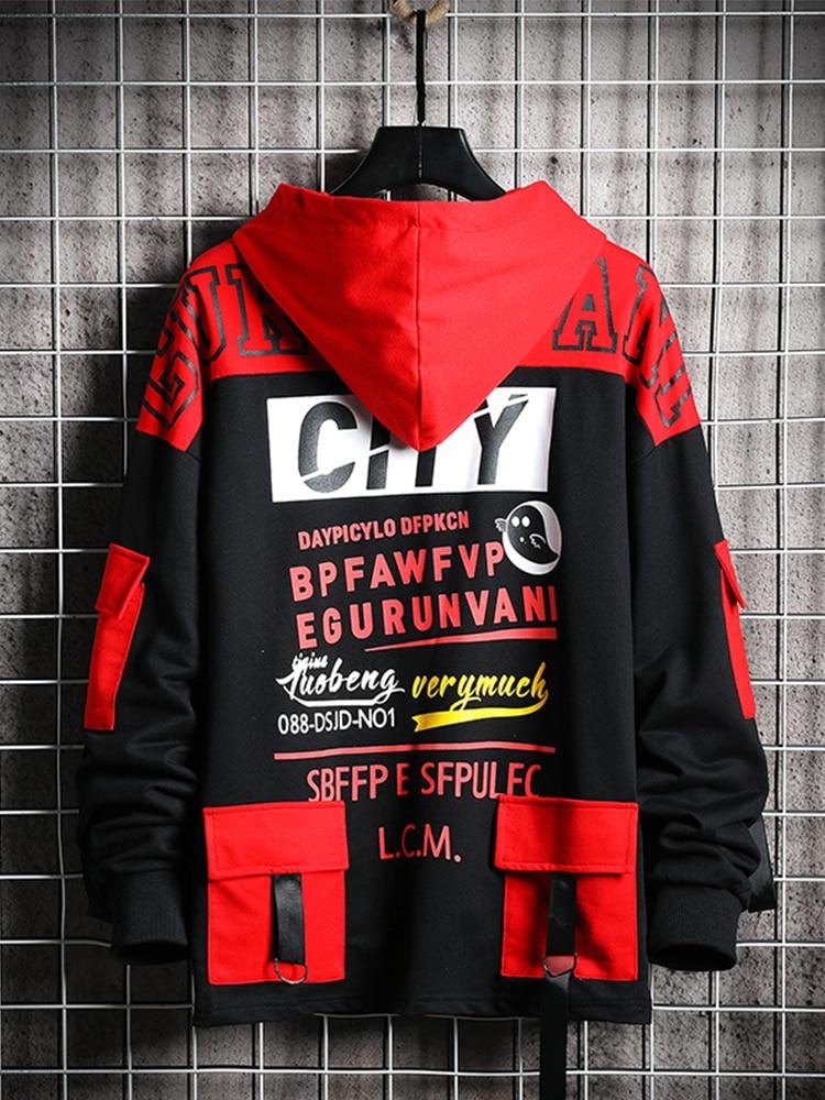 Black Hoodie Sweatshirt Japanese Streetwear Harajuku Hip-Hop Men Spring Singleroad Male