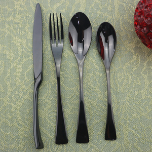 4/8/20pcs Black Dinnerware Set Dessert Spoon Fork Knife Cutlery Set 18/10 Stainless Steel Flatware Silverware Party Accessories