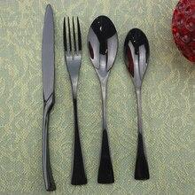 4/8/20pcs Black Dinnerware Set Mirror Dessert Spoon Fork Knife Cutlery Set Stainless Steel Flatware Silverware Party Accessories
