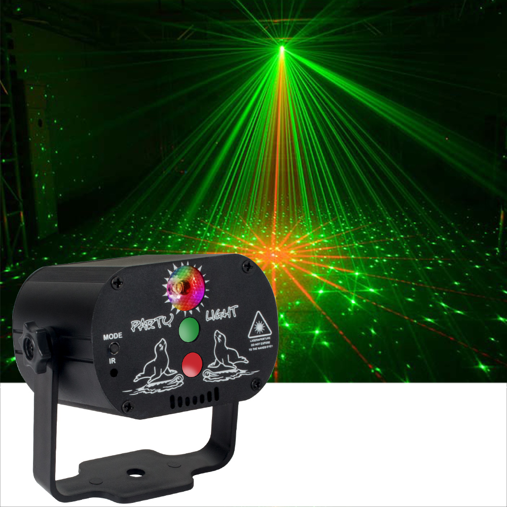 Mini DJ Disco Light USB Charge 60 Modes Stage Lighting Effect Voice Control Laser Projector Light Dance Floor Bar Party Activity