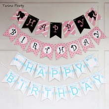 Twins Party Happy Birthday Banner Baby Shower Sunflower Donut Photo Booth Bunting Garland Flags Decoration