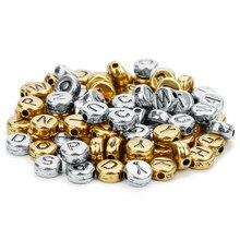 100 Stks/partij Goud Diy Kralen Materiaal Acryl Brief Kralen Platte Ronde Brief Kralen Armband Kralen Sieraden Accessoires Spacer Kralen