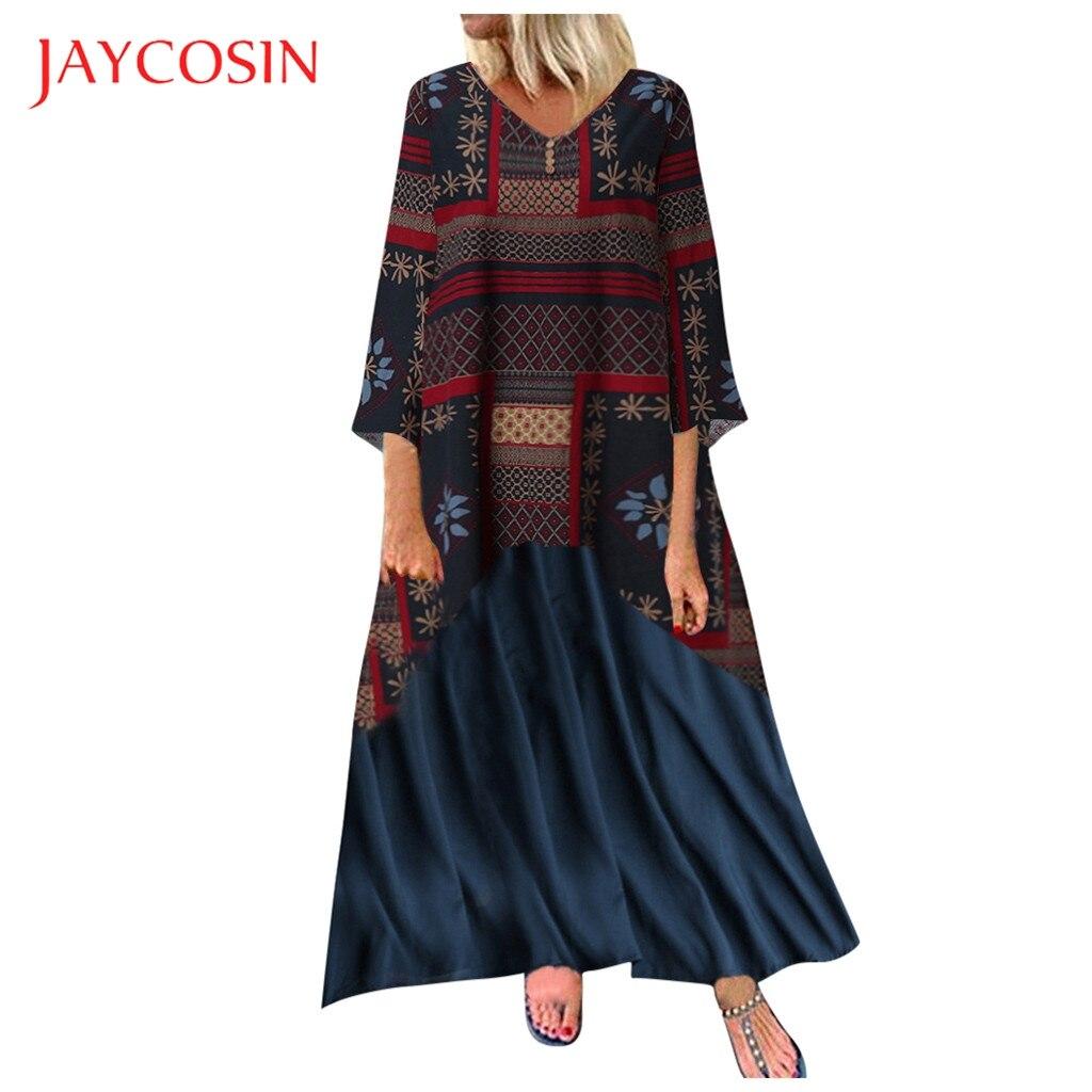 Jaycosin Plus Size Dress Women long Maxi Dress vestidos V Neck Splicing Floral Printed Long Sleeve vintage boho casual dresses 8
