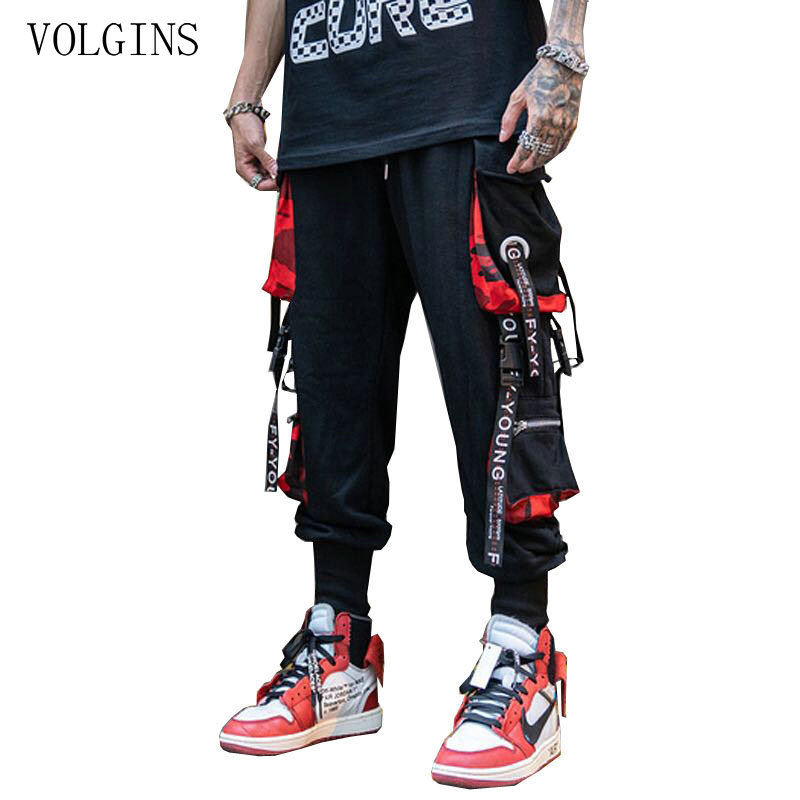 Streetwear Men Street Style Fashion Pants Newest Ribbon Black Harem Pants Ribbons Hip Hop Men Casual Sweatpants Joggers Pants