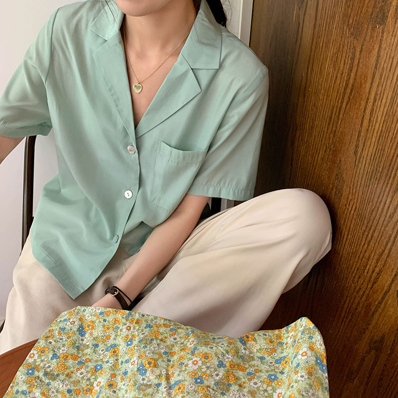 3 Colors Femme Womens Loose Tops 2020 Summer Korean Style V Neck Solid Color Short Sleeve Shirt Women Blouses (X1409)