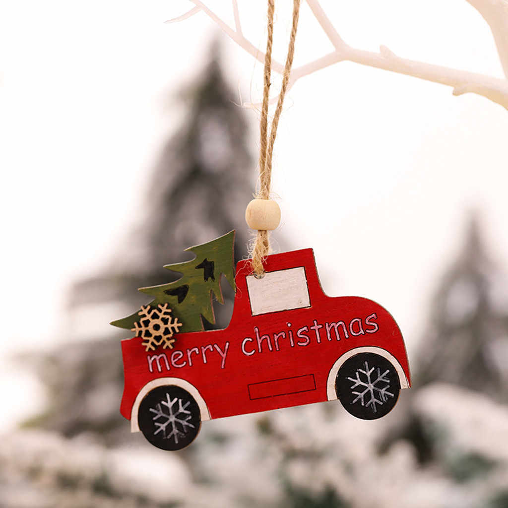 1PC 2020 Wooden Hanging Christmas Tree Cabin Elk Car Dog Ornament Xmas Party christmas pendant decorations for home navidad F104