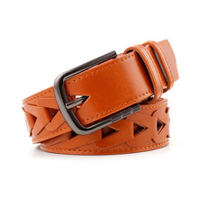 100*3.9Cm Female Vintage Triangle Hollow Belt Woman Pin Buckles Belts New Lady Personality Leather Wide Waistband For Jeans