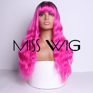 Image 5 - MISS WIG, длинные волнистые парики для черных женщин, афро американские синтетические волосы, серые, коричневые парики с челкой, термостойкий парик