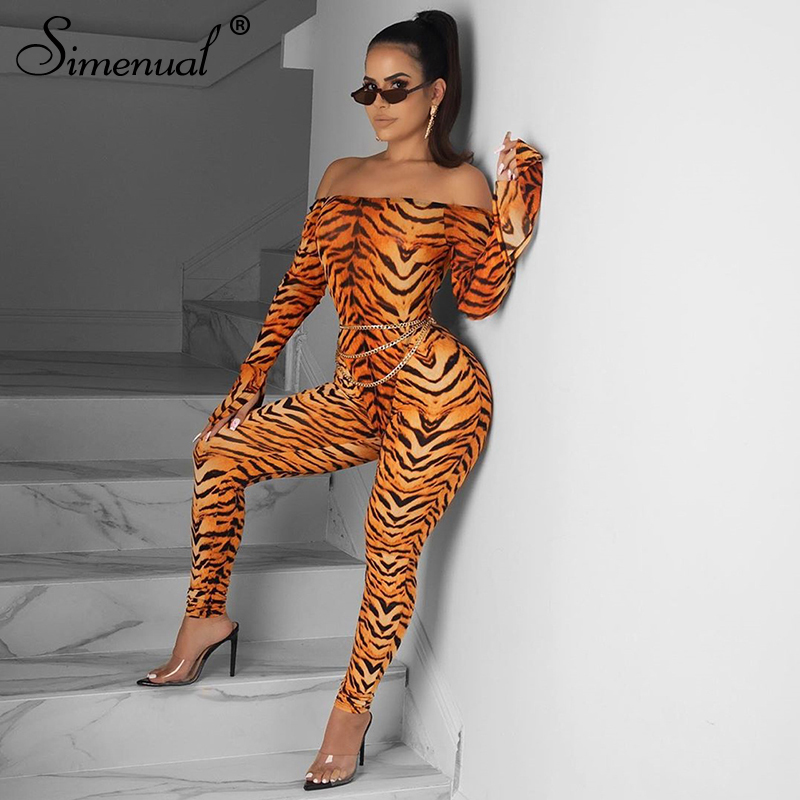 Simenual Tiger Print Fitness Sexy Hot Rompers Womens Jumpsuit Long Sleeve Off Shoulder Active Wear Skinny Fashion 2019 Jumpsuits
