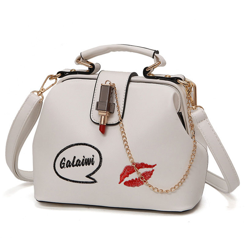 Women Handbag Leather Shoulder Bag Small Doctor Crossbody Handbag Embroideried Lipstick Casual Women Crossbodi Shoulder Totes