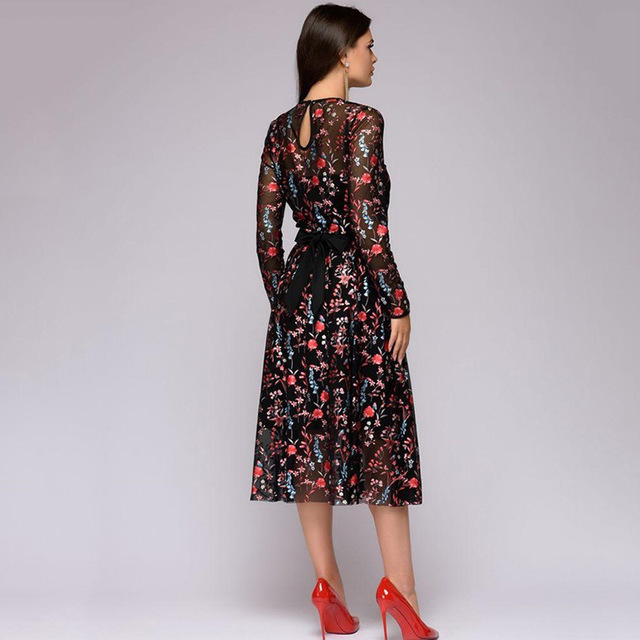 2019 new arrived fashion women's Explosive Digital Printed Long Sleeve Thin Dresses 2