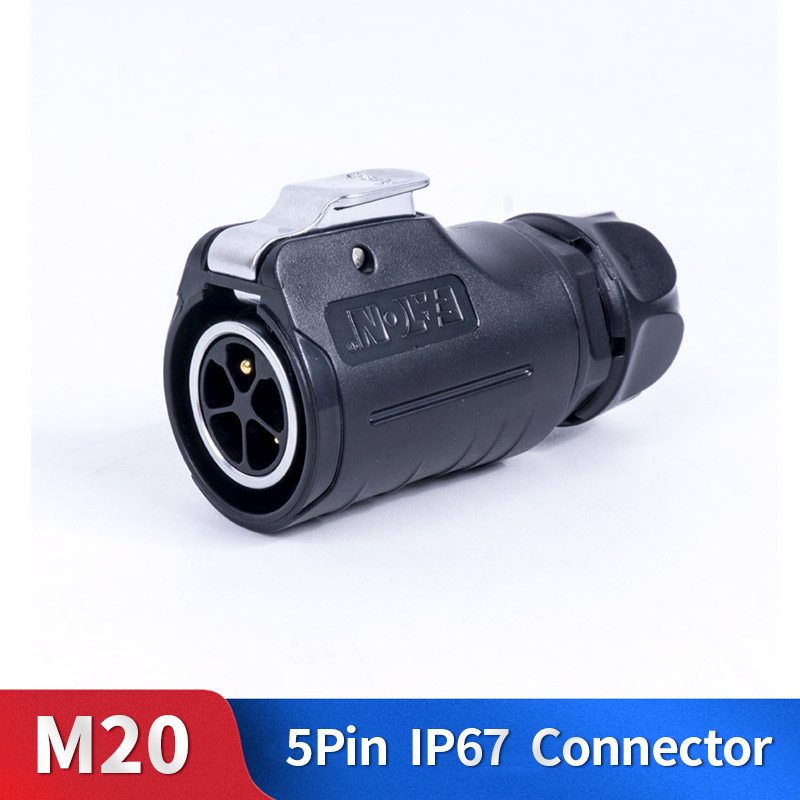 M20 5 Pin Quick Waterproof Connector Kit Metal Shell Male and Female Industrial Outdoor Lighting Cable Plug and Socket|Connectors| |  - title=