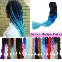 Jumbo Braids Long Ombre Jumbo Synthetic Braiding Hair Crochet Blonde Pink Blue Grey Hair Extensions African Viscera In Bulk 24''(China)