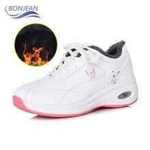 BONJEAN Women  Keep Warm Running Shoes Winter Casual Sneaker Female Brand Sneakers Increasing 5CM INS High Heel
