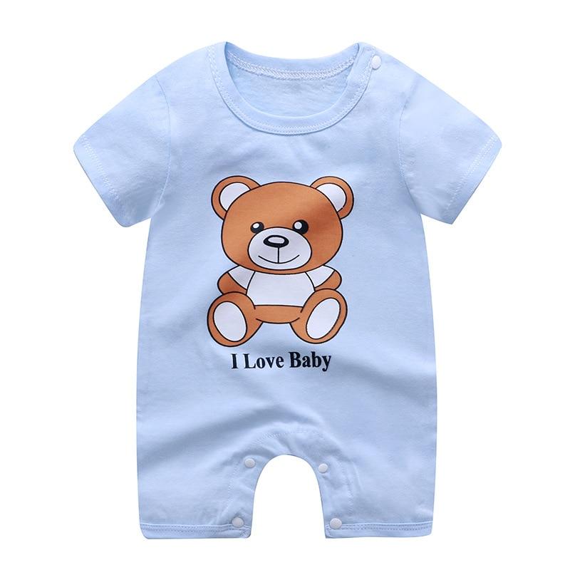 Bebê macacão de algodão recém-nascidos meninos meninas do bebê crianças roupas de manga curta pijamas verão wear