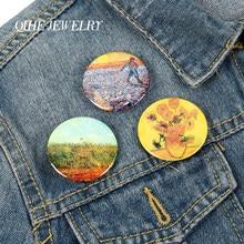 Épingles à revers en émail de créateur du monde, broches rondes de l'artiste Van Gogh, Badges à la mode, cadeaux pour amis, bijoux, vente en gros