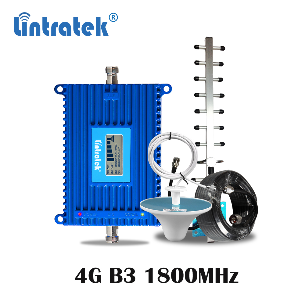 Lintratek 70dB High Gain 4G LTE B3 FDD 1800MHz Cellphone Signal Booster 4G Internet Cellular Amplifier Repeater Antenna Set S6