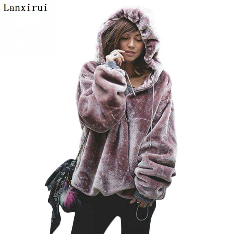 Women Winter Autumn Plush Outwear Hoodies Oversize Sweatshirt Pullover Female Tops Hoody Light Purple Warm Outwear
