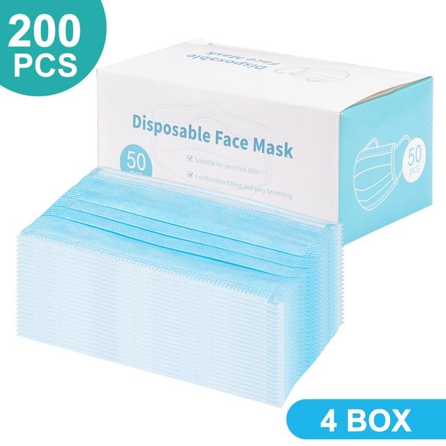 200 PCS Disposable Face Mask 3 Layer Mouth Masks Filter Ear Loop Maske Earloop Cover Mask Safety Breathing Maska