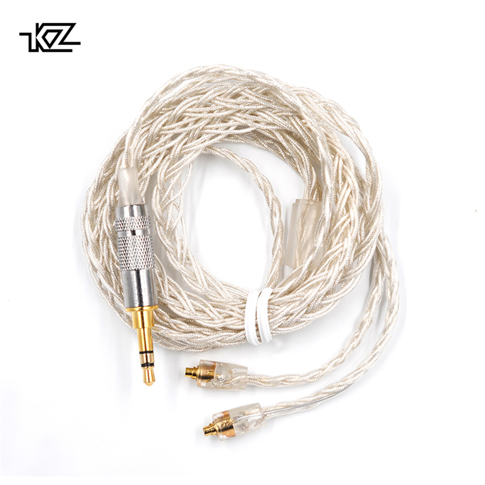 <font><b>KZ</b></font> AS10 <font><b>ZS10</b></font> ZST ES3 ED12 ZS5 ZS6 MMCX Silver Plated Dedicated <font><b>Cable</b></font> Connector Upgraded Silver Plated Cabl image