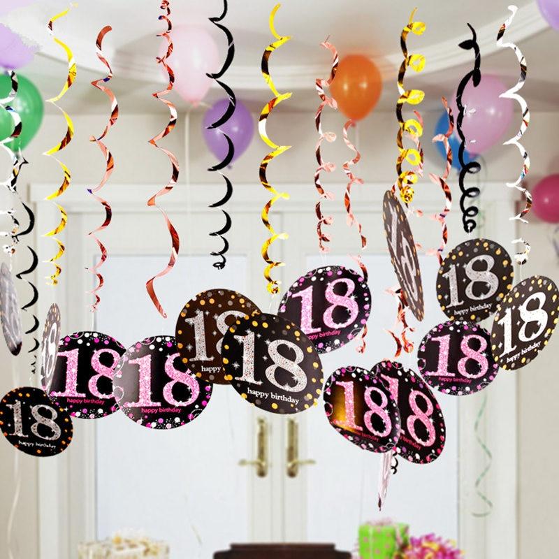 18th 21th 30th Birthday Decoration Screw Is Hanged Adorn Birthday Party Wall Decor DIY Birthday Pendant 6pcs/lot