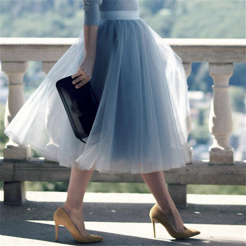 5 camadas 60cm princesa midi tule saia plissado dança tutu saias das mulheres lolita petticoat jupe saia faldas festa inchado saias