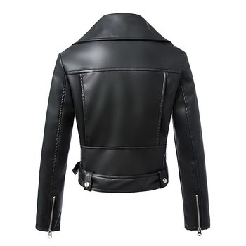 Autumn and Winter Black Faux Leather Jacket 2