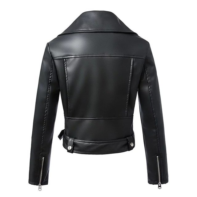 Women Autumn Winter Black Faux Leather Jackets Zipper Basic Coat Turn-down Collar Motor Biker Jacket With Belt 2