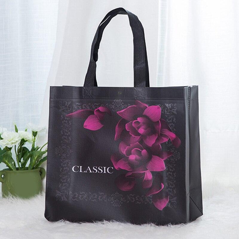 2019 New Non-woven Fabric Rose Flower Shopping Bag Reusable Pouch Fashion Vintage Black Travel Storage Handbag Eco Friendly Bag