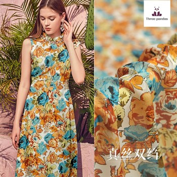 Printed silk fabric 137 cm width mulberry silk double crepe fabric meter dress women's clothing fabric wholesale silk cloth